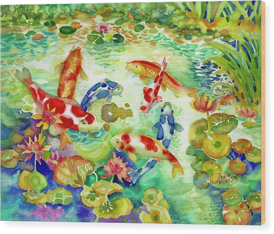 Koi Pond I Wood Print