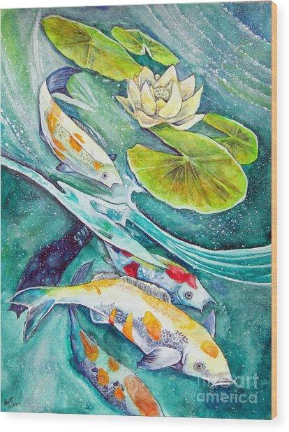Koi Pond Wood Print