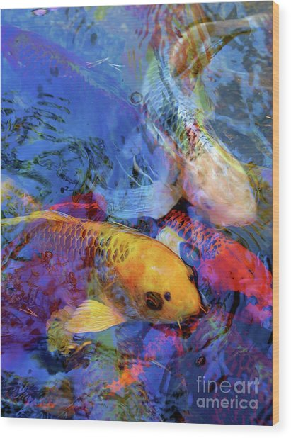 Koi Reflections Collage Wood Print