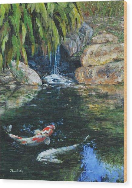 Koi Under The Waterfall Wood Print by Beth Maddox