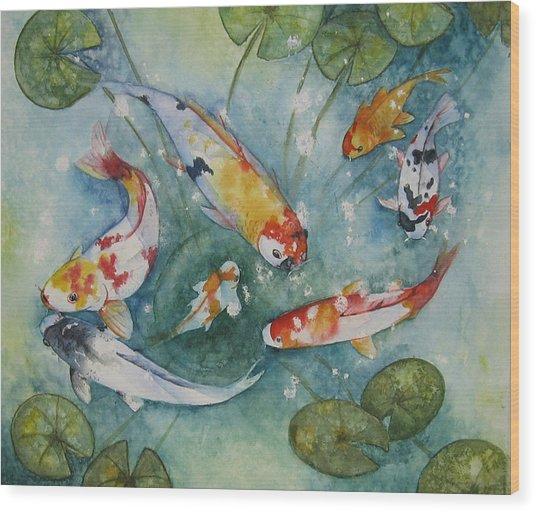 Koi  With Lilies Wood Print by Gina Hall