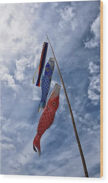 Koinobori Wood Print
