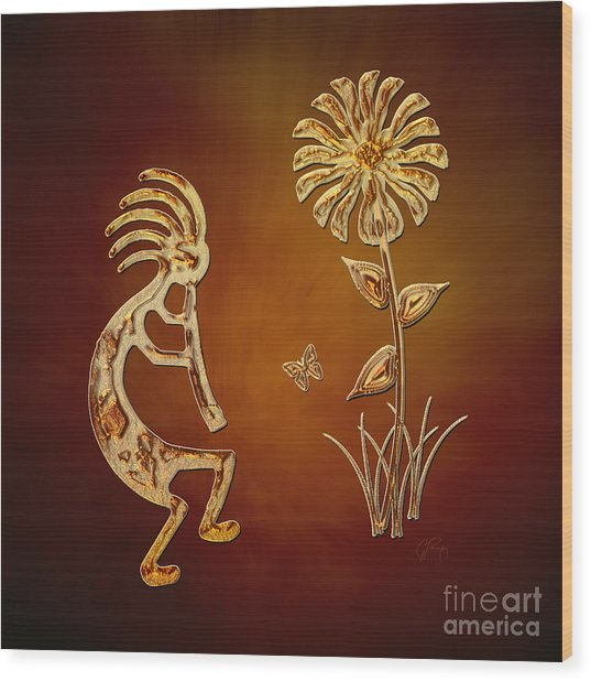 Kokopelli - Flower Serenade Wood Print
