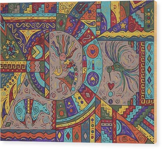 Kokopelli Mandala Wood Print