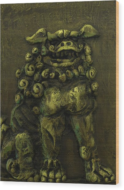 Komainu Guardian Wood Print by Erik Pearson
