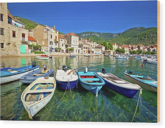 Komiza On Vis Island Turquoise Waterfront Wood Print