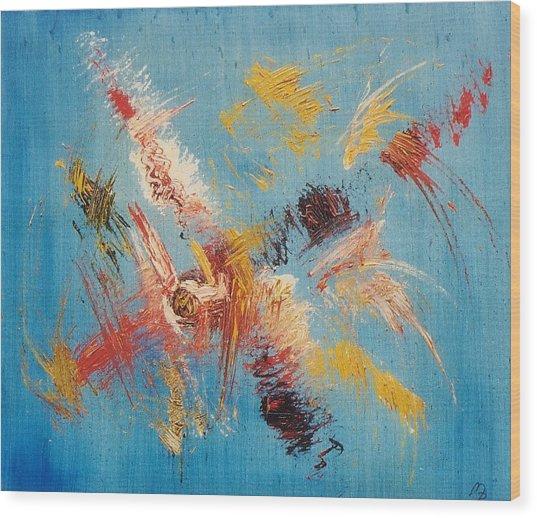 Komposition Auf Blau Wood Print by Michael Puya
