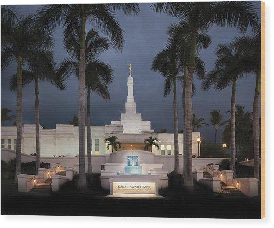 Kona Hawaii Temple-night Wood Print
