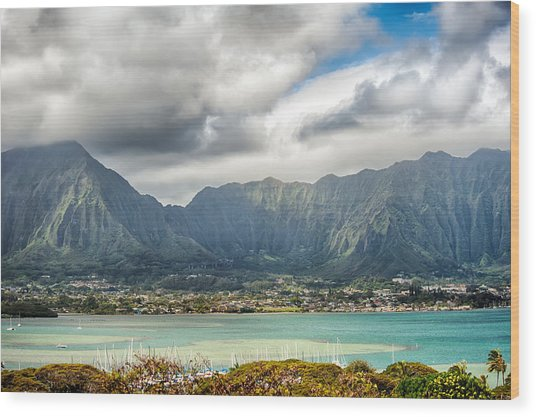 Ko'olau And H-3 In Color Wood Print