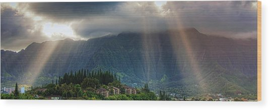 Koolau Sun Rays Wood Print