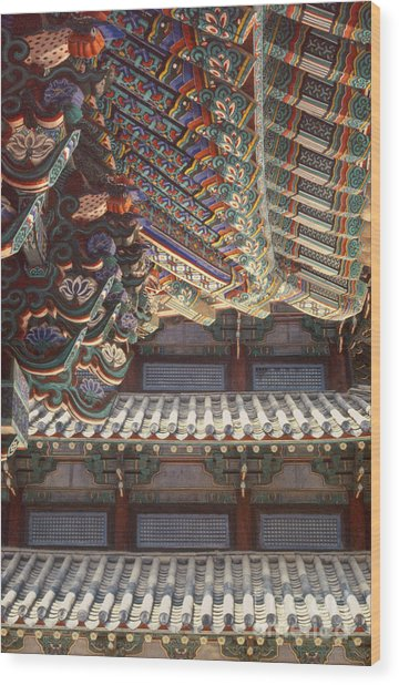 Korean Buddhism Temple Photography - Temple Tiles Wood Print