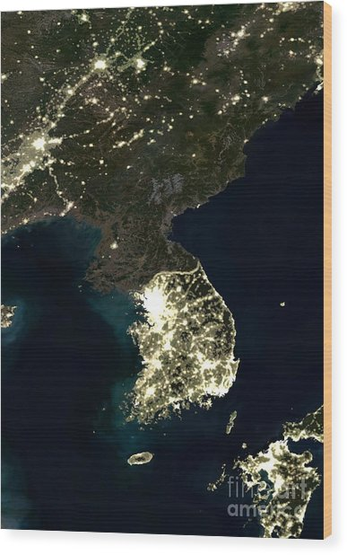 Korean Peninsula Wood Print