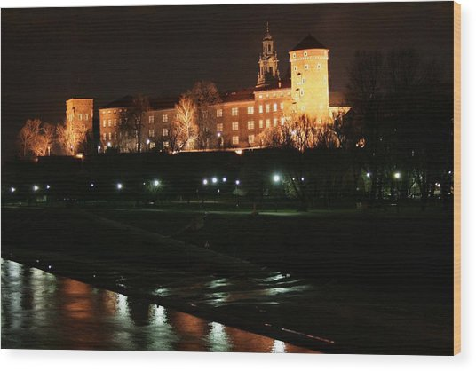 Krakow At Night Wood Print