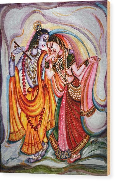 Krishna And Radha Wood Print