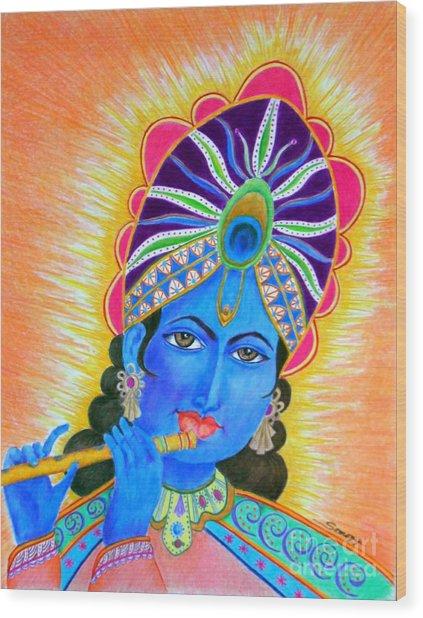 Krishna -- Colorful Portrait Of Hindu God Wood Print