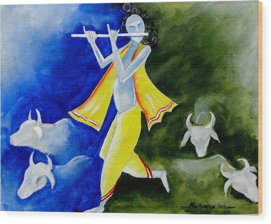 Krishna Magic Wood Print