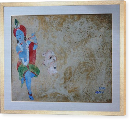Krishna Wood Print by Rooma Mehra