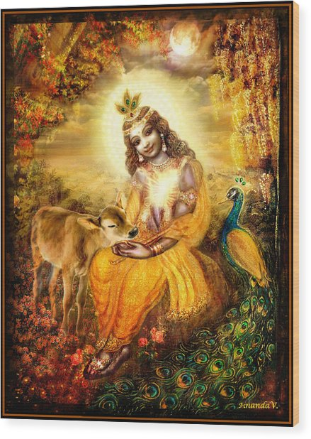 Krishna With The Calf Wood Print by Ananda Vdovic