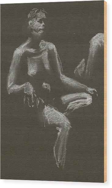 Kroki 2015 04 25 _3 Figure Drawing White Chalk Beskuren Wood Print