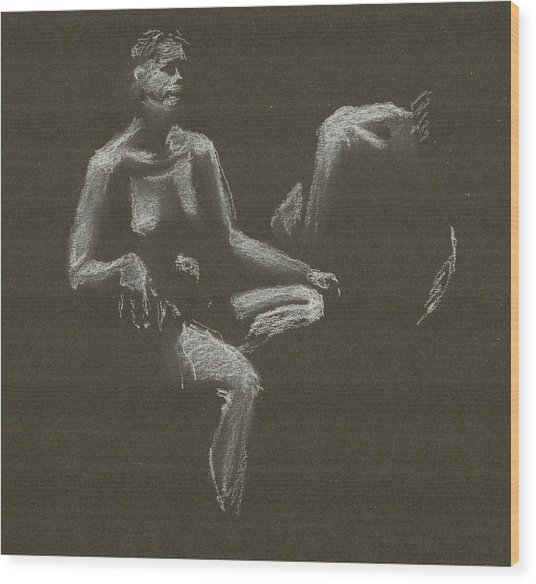 Kroki 2015 04 25 _3 Figure Drawing White Chalk Wood Print