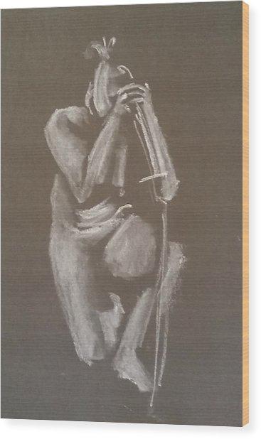 Kroki 2015 06 18_4 Figure Drawing Chinese Sword White Chalk Wood Print