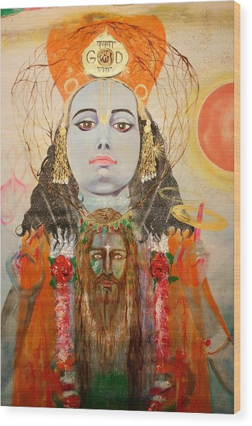 Krsna And Christ Wood Print