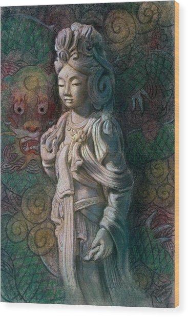 Kuan Yin Dragon Wood Print
