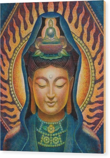 Kuan Yin Flame Wood Print