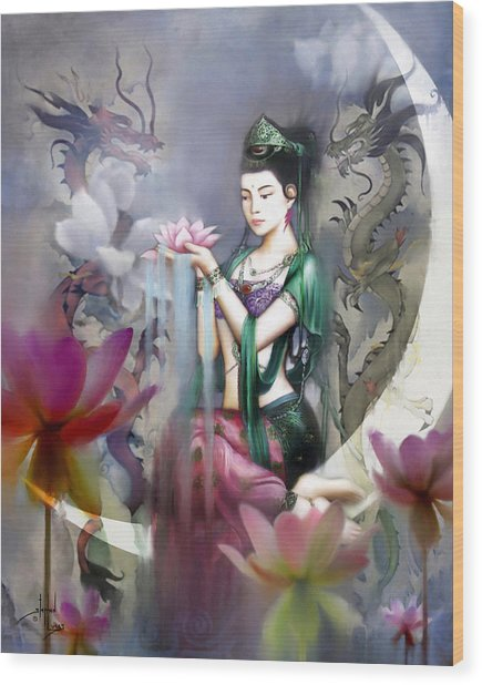 Kuan Yin Lotus Of Healing Wood Print