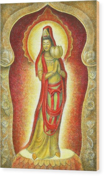 Kuan Yin Lotus Wood Print