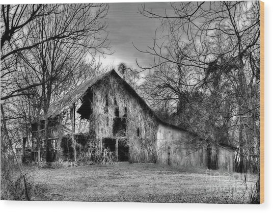 Wood Print featuring the photograph Kudzu Covered Barn In The Mississippi Delta by T Lowry Wilson