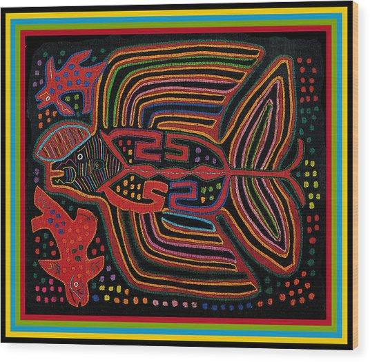 Kuna Indian Flying Fish  Wood Print