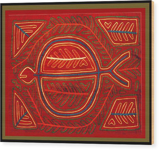 Kuna Indian Stingray Mola Wood Print