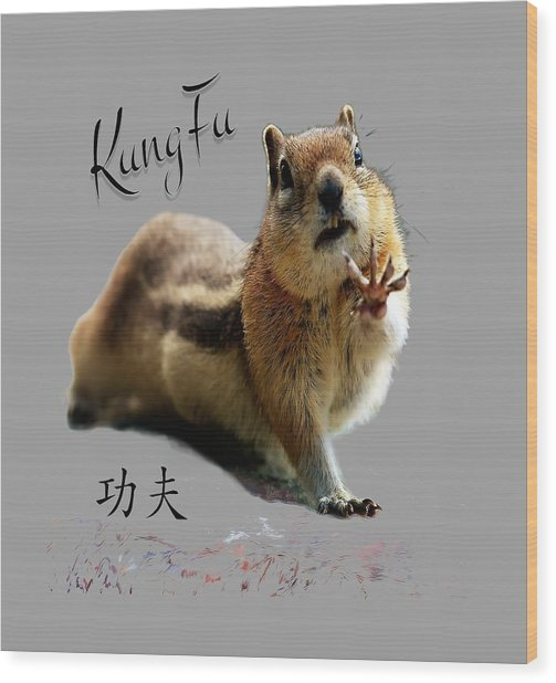 Kung Fu Chipmunk Wood Print