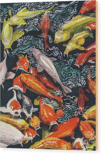 Kure Koi Pond Wood Print
