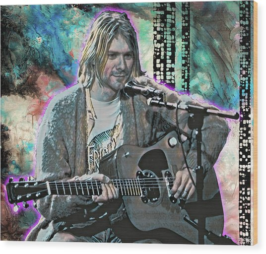 Kurt Cobain - Come As You Are Wood Print by Bobby Zeik