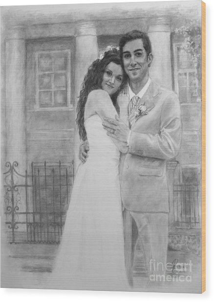 Kyle And Liliia Wedding Day Portrait Wood Print