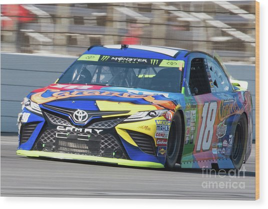 Kyle Busch Coming Out Of Turn 1 Wood Print