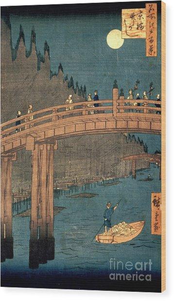 Kyoto Bridge By Moonlight Wood Print