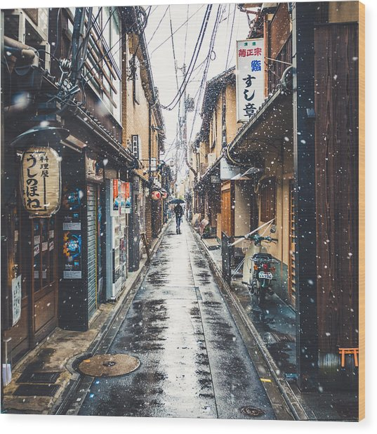 Kyoto Snow Day Wood Print