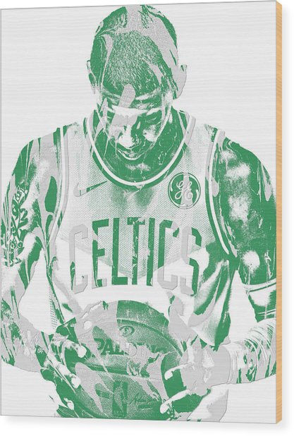 Kyrie Irving Boston Celtics Pixel Art 5 Wood Print