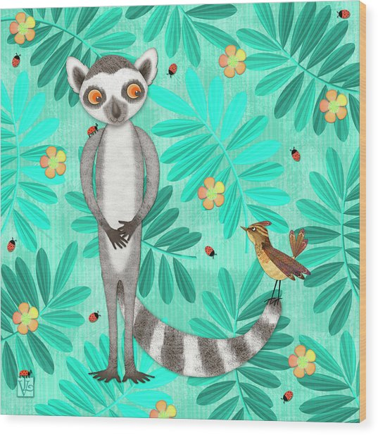 L Is For Lemur And Lark Wood Print