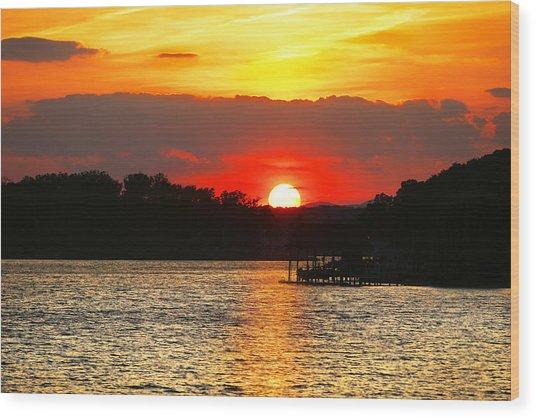 Bloody Red Sunset Smith Mountain Lake Wood Print