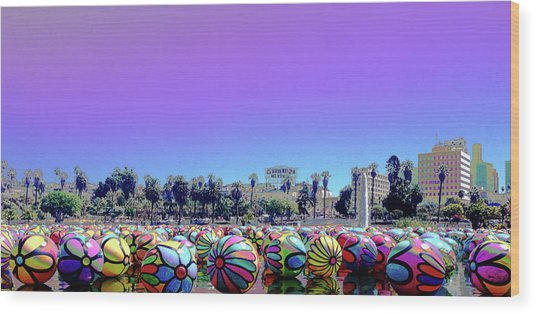 Wood Print featuring the photograph Los Angeles Glows In The Spheres Of Macarthur Park by Lorraine Devon Wilke