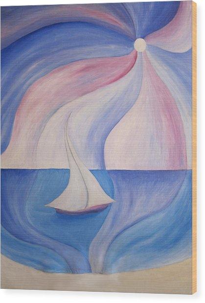 La Barca A Vela Wood Print by Alberto V  Donati