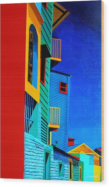 La Boca Street Scene Twelve Wood Print