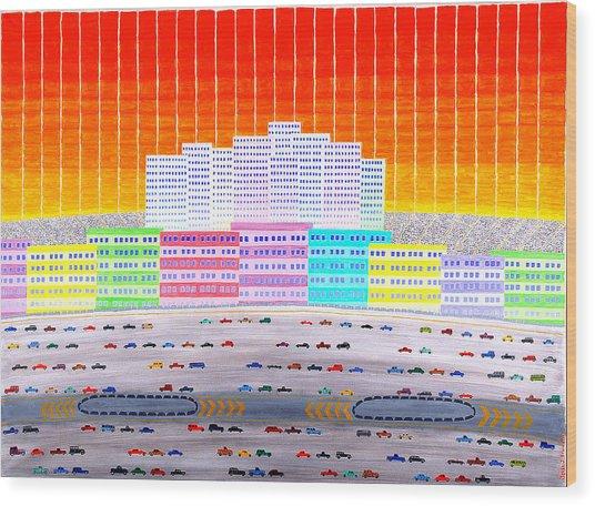 L.a. Cityscape Wood Print