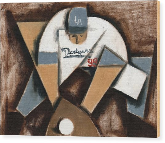 La Dodgers Cubism Baseball Shortstop Art Print Wood Print