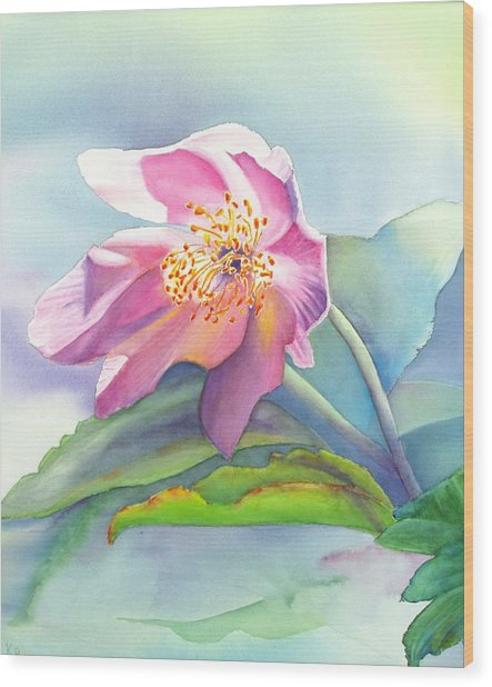 La Fleur Rose Wood Print