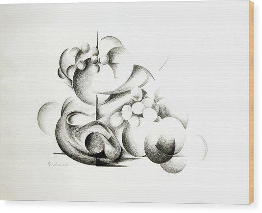 La Guerre Des Bulles Wood Print by Muriel Dolemieux